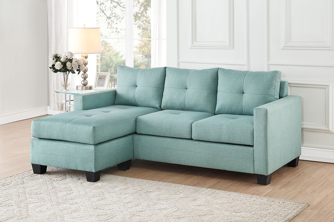 Phelps Sofa Chaise Set Teal By Homelegance Furniturepick