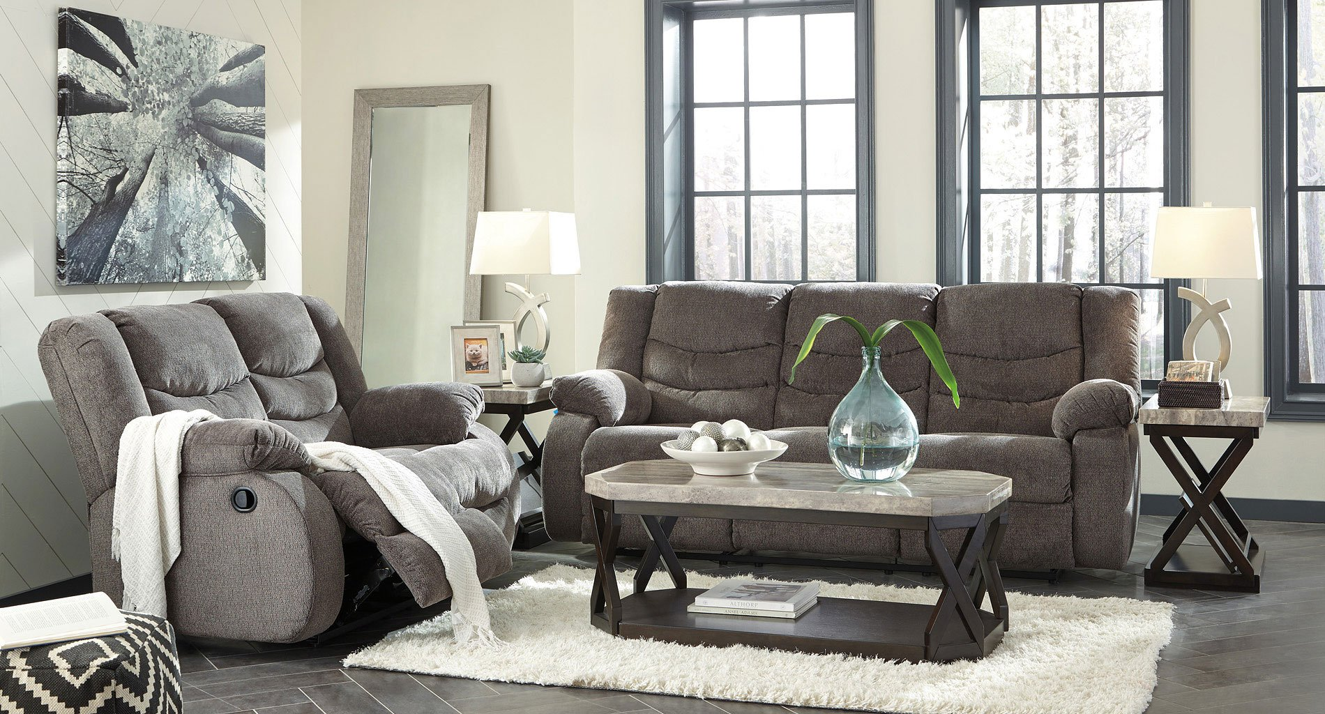 Gray Living Room Furniture Sets : Tulen Gray Reclining Living Room Set - Living Room Sets ...