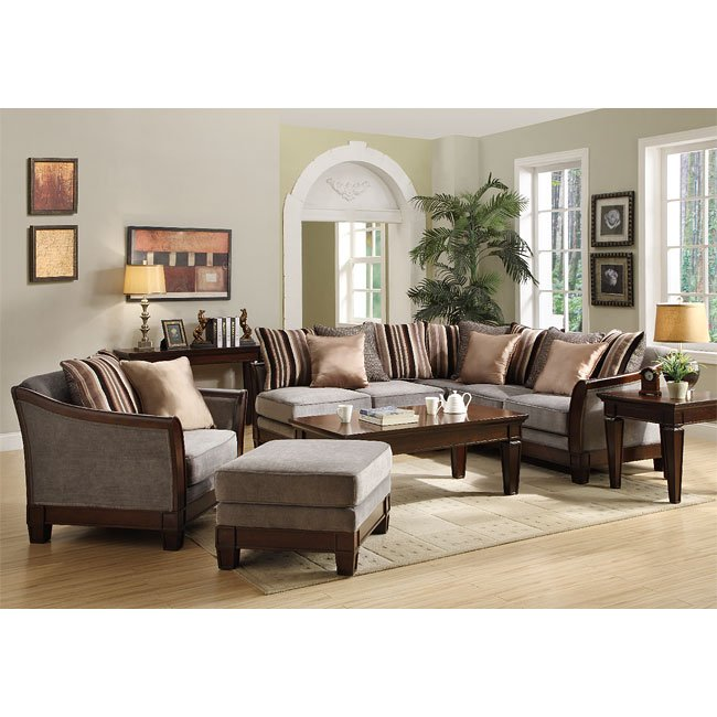 Trenton Sectional Living Room Set (Grey Velvet