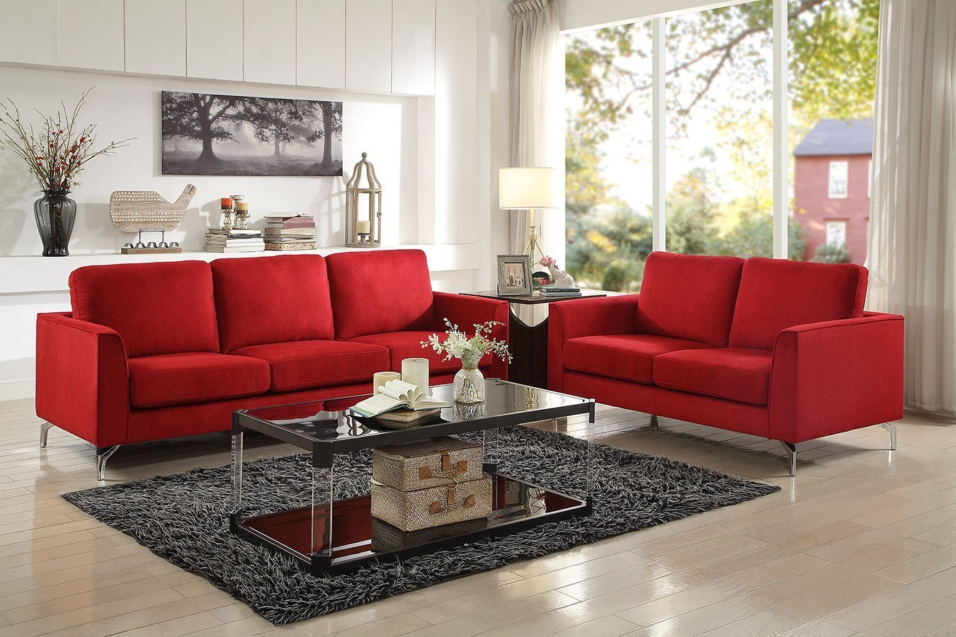 Red Living Room: Canaan Living Room Set (Red) By Homelegance