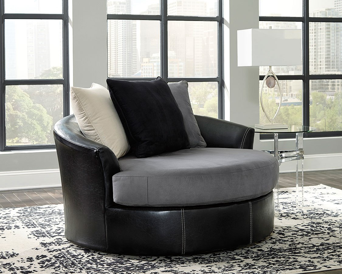 Jacurso Charcoal Oversized Swivel Accent Chair By