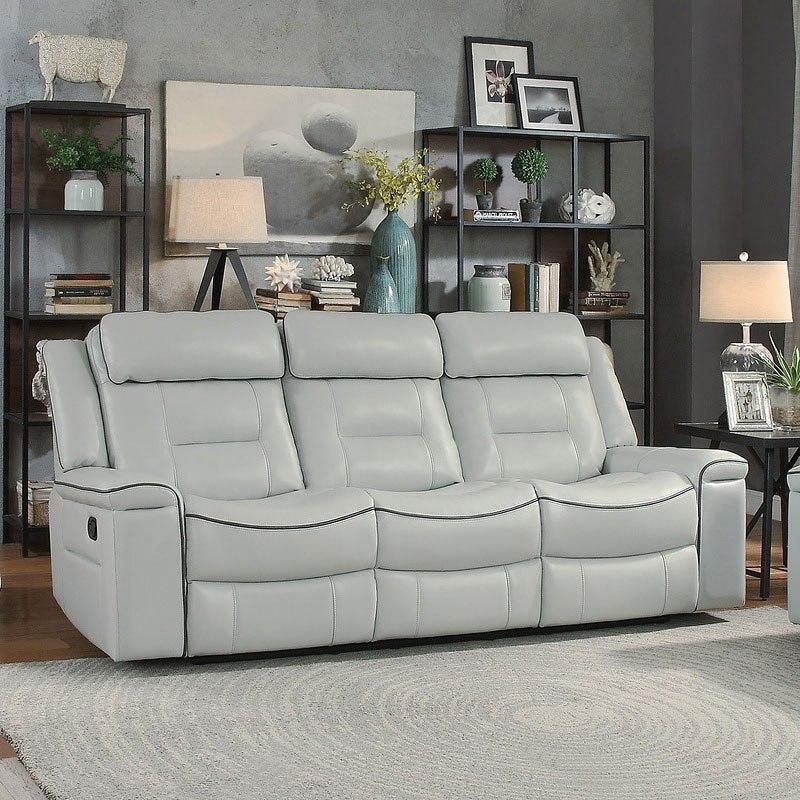 Darwan Lay Flat Reclining Sofa (Light Gray) by Homelegance ...