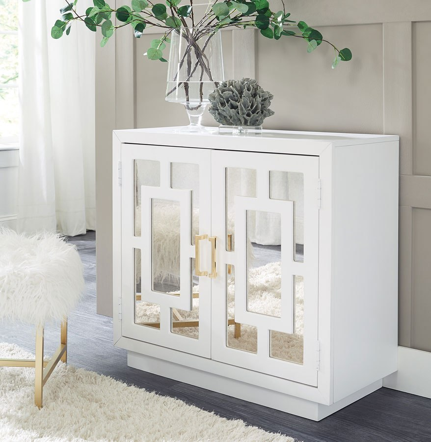 Walentin Accent Cabinet By Ashley Furniture: Walentin White Accent Cabinet W/ Geometric Pattern By