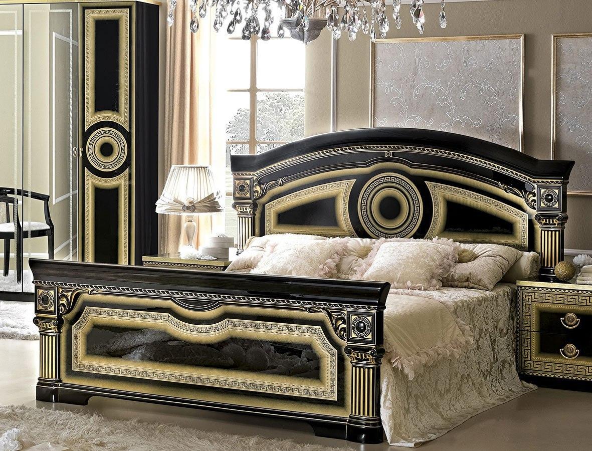 Aida Panel Bed Black And Gold Bedroom Furniture Bedroom