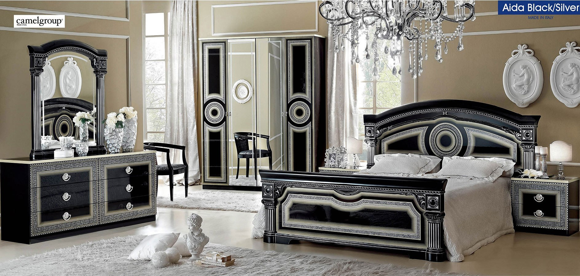 Aida Panel Bedroom Set Black And Silver By Esf Furniture