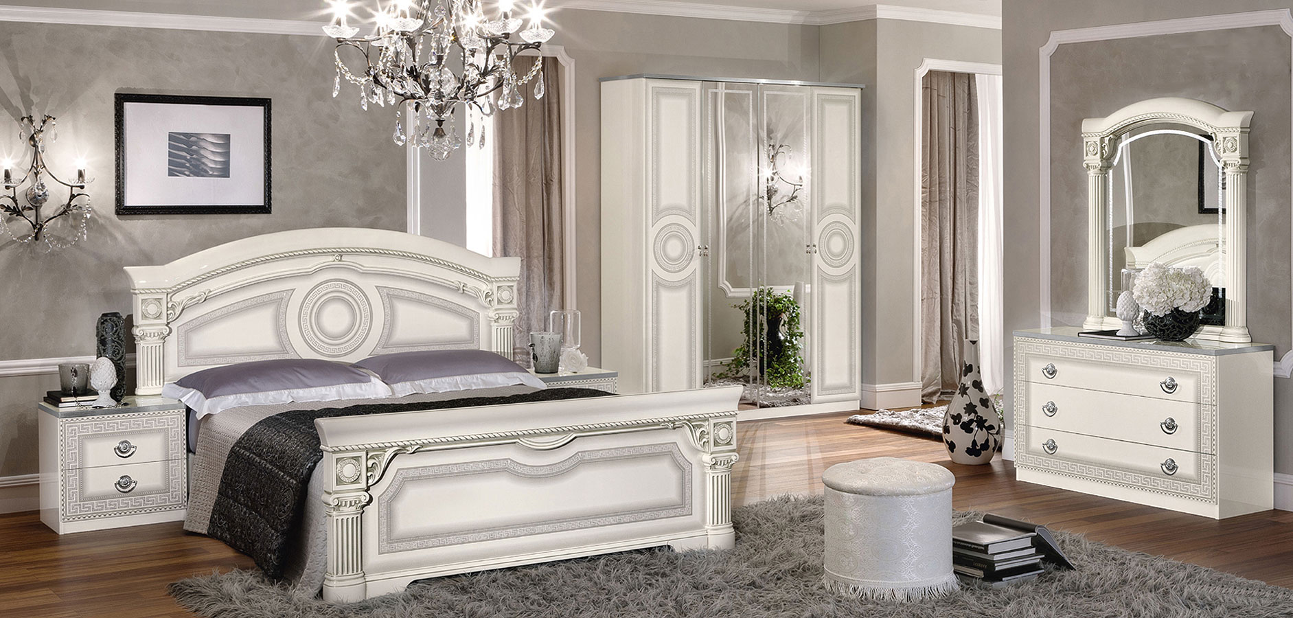 Aida Panel Bedroom Set (White and Silver) by ESF Furniture ...