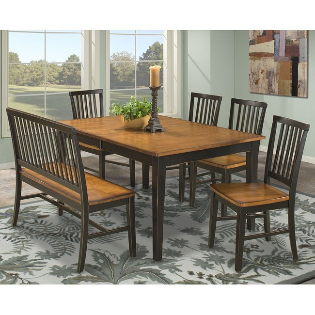Arlington Dining Room Set W Slat Chairs Black Java By Intercon Furniture