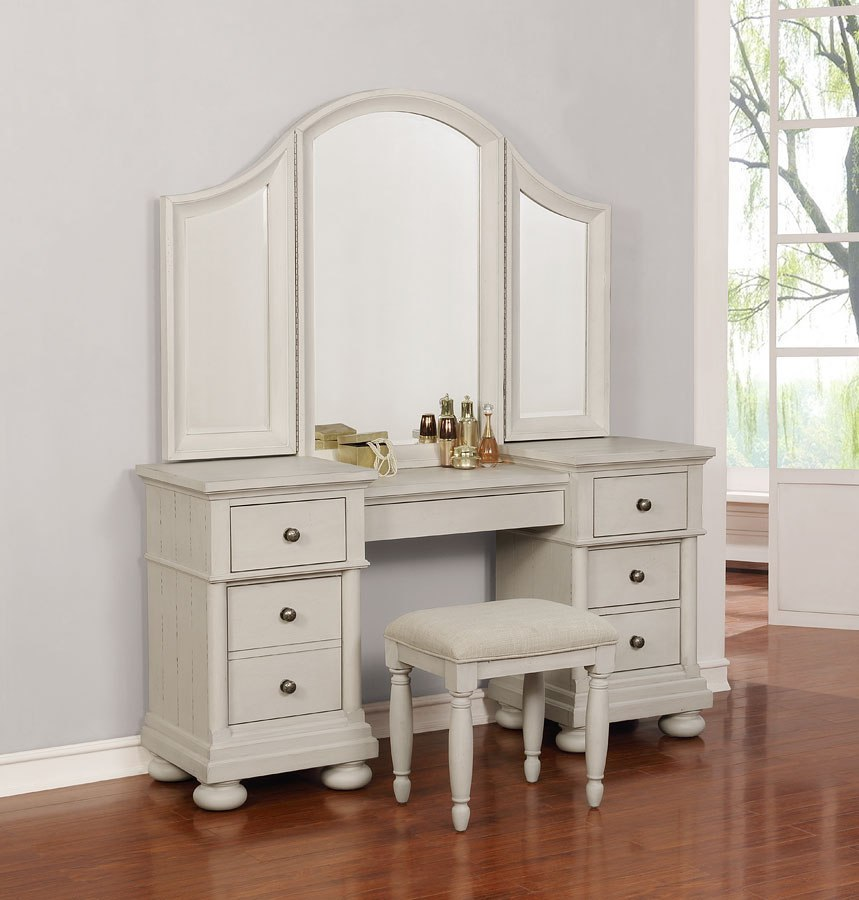 Bellville Vanity Desk W/ Mirror (Vintage White) By Avalon