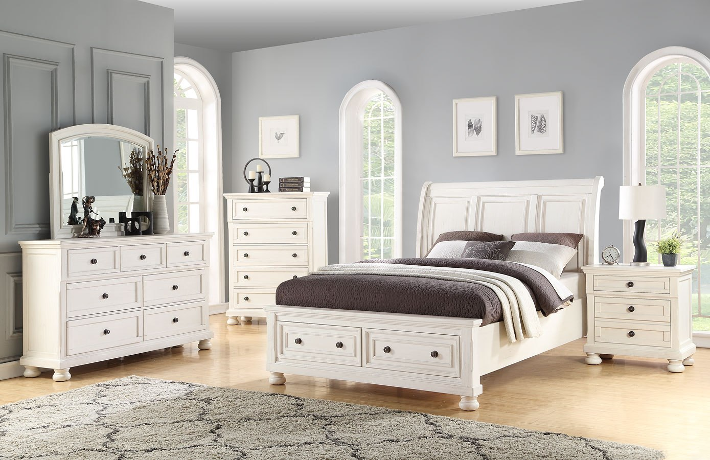 Stella Sleigh Storage Bedroom Set by Avalon Furniture | FurniturePick