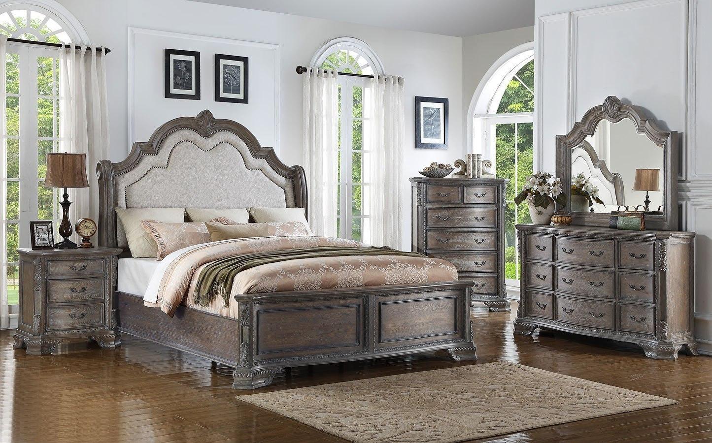 Sheffield panel bedroom set antique grey by crown mark furniture furniturepick for Antique grey bedroom furniture