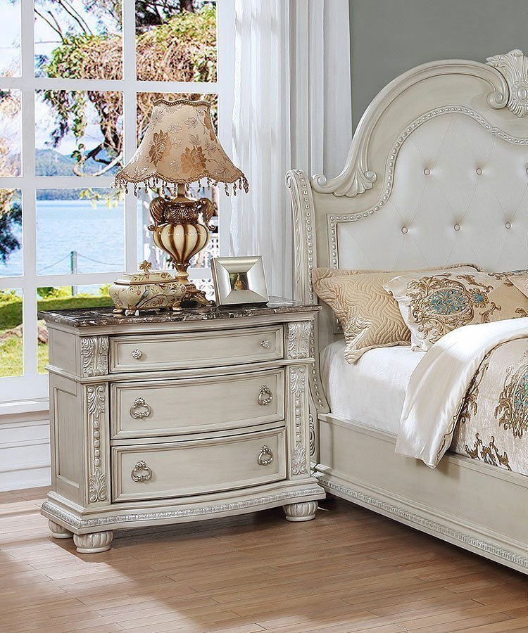Stanley Sleigh Bedroom Set Antique White By Crown Mark