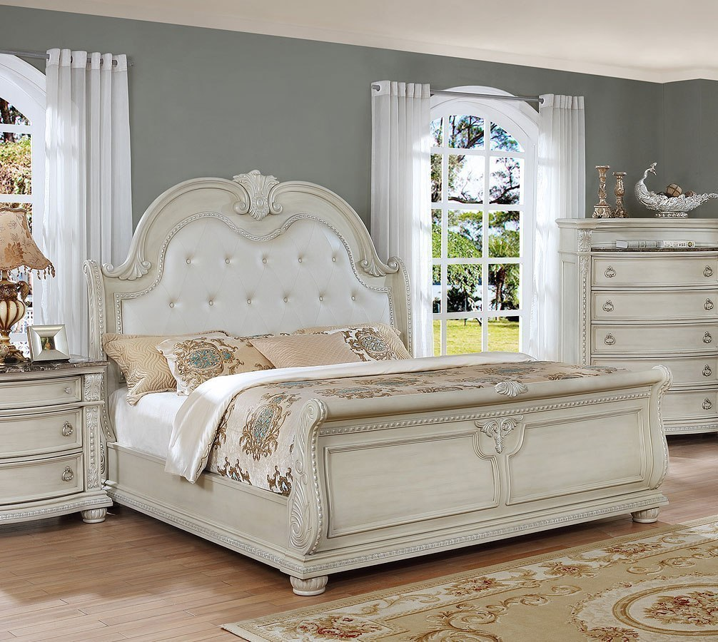 stanley sleigh bedroom set antique white bedroom 13388 | b1630 q bed 1
