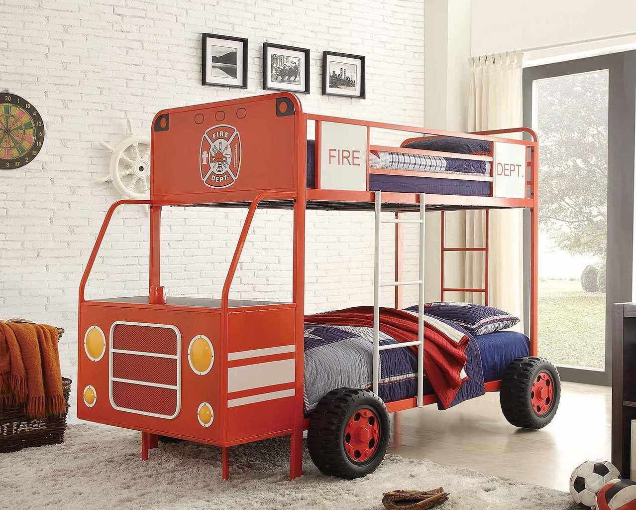 Engine One Twin Twin Bunk Bed Fire Truck Kids And Youth