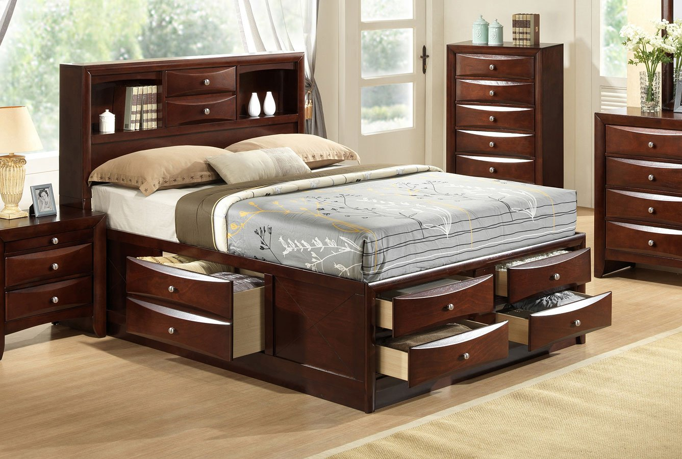 Emily bookcase bed brown bedroom furniture bedroom for Furniture markup