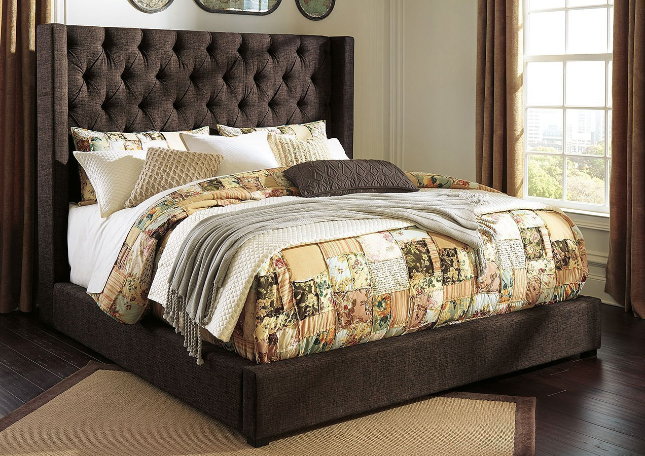 Norrister Dark Brown Upholstered Bed By Signature Design