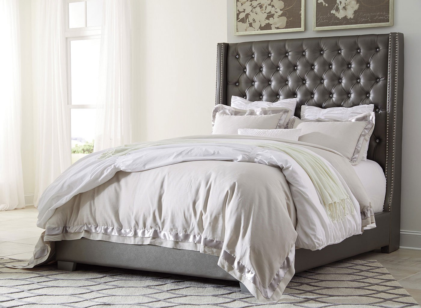 Coralayne upholstered bed beds bedroom furniture bedroom for Bedroom sets with upholstered headboards