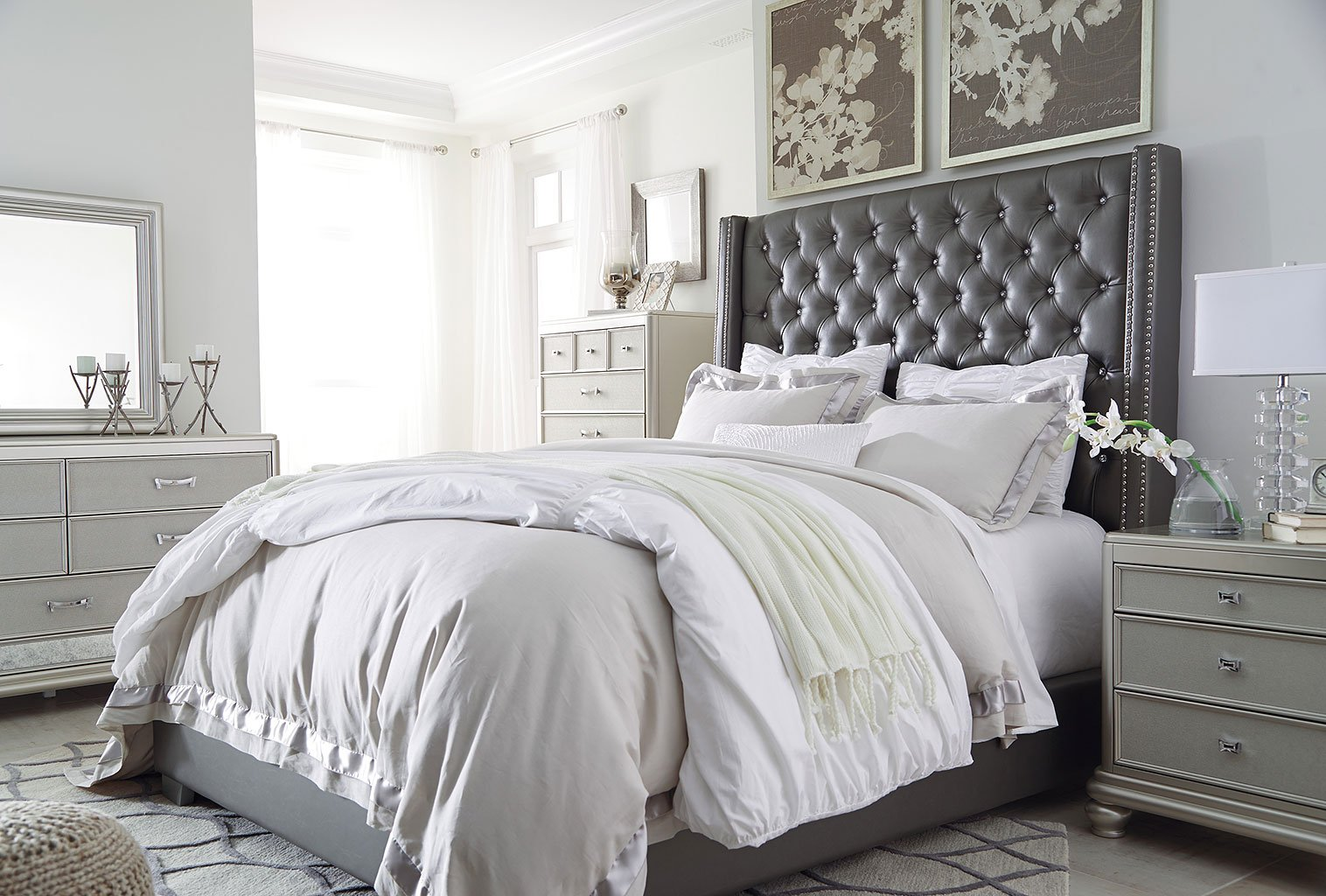 Coralayne upholstered bedroom set by signature design by - Bedroom set up ideas ...