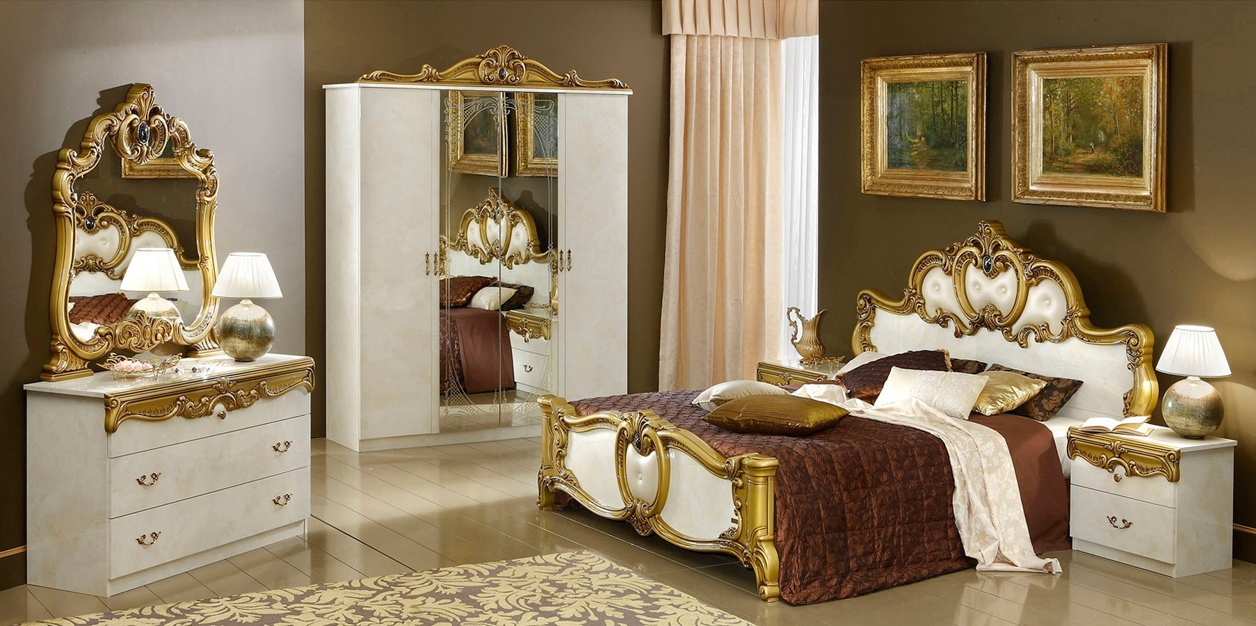 Barocco Bedroom Set Ivory And Gold By Esf Furniture
