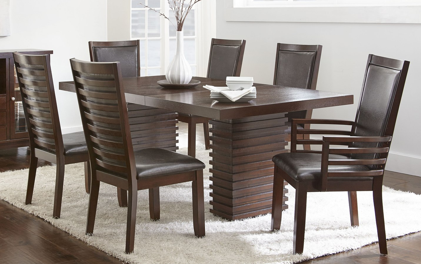 693c6039f88c Briana Dining Room Set w/ Brown Chairs by Steve Silver Furniture |  FurniturePick