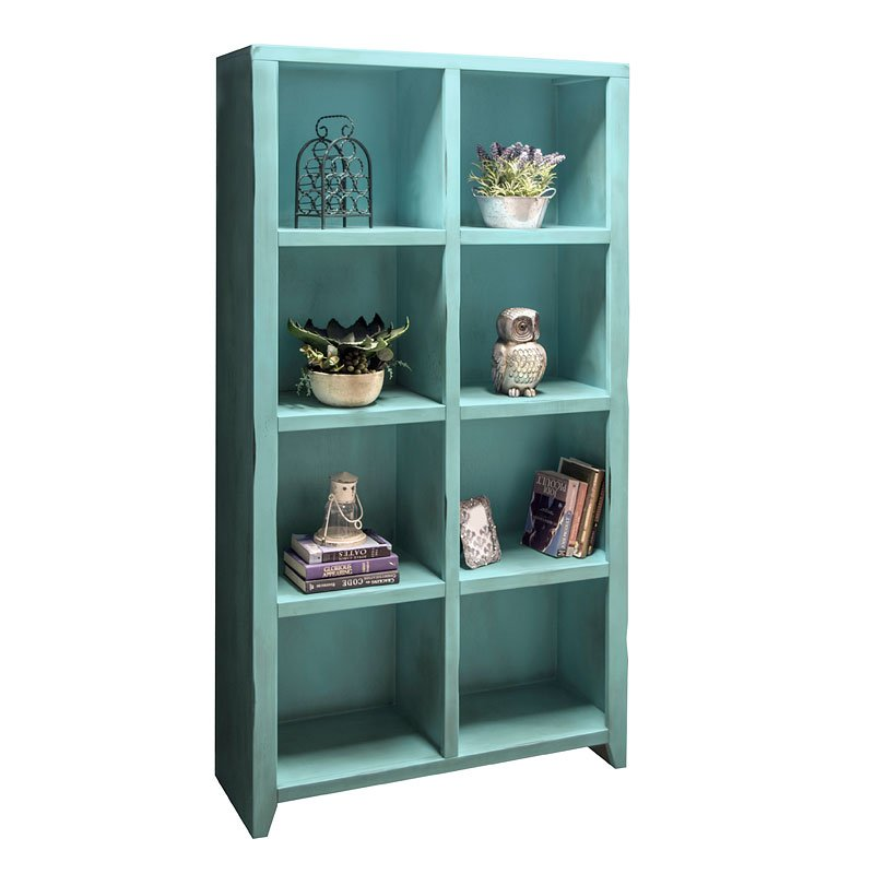Calistoga 8 Cubicle Bookcase Rustic Aqua Bookcases