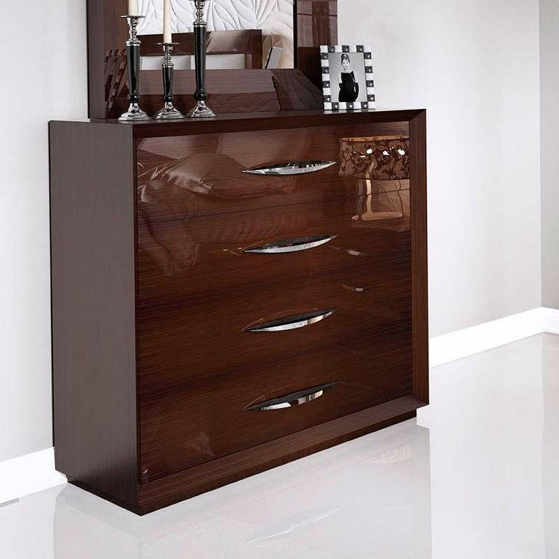 Carmen Walnut Modern Italian Bedroom Set: Carmen Platform Bedroom Set (Walnut) By ESF Furniture