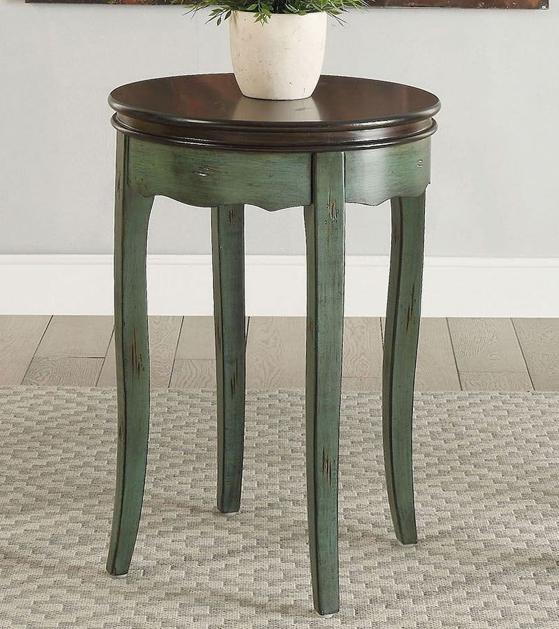 Molly Vintage Round Side Table Green
