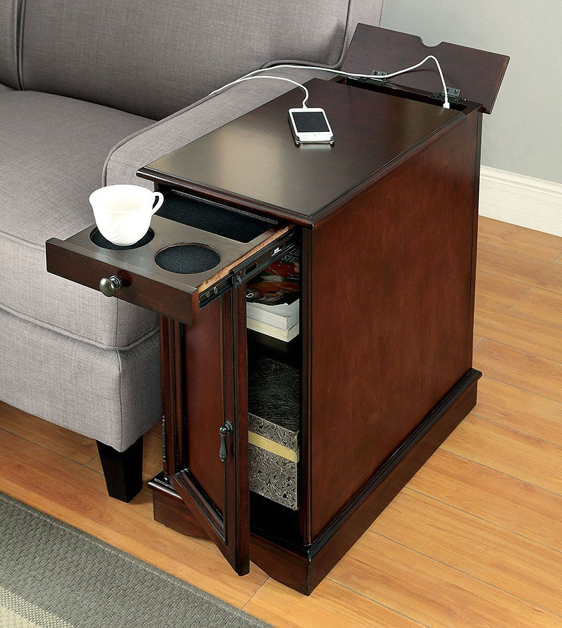 Lilith I Side Table W Usb And Outlet Cherry