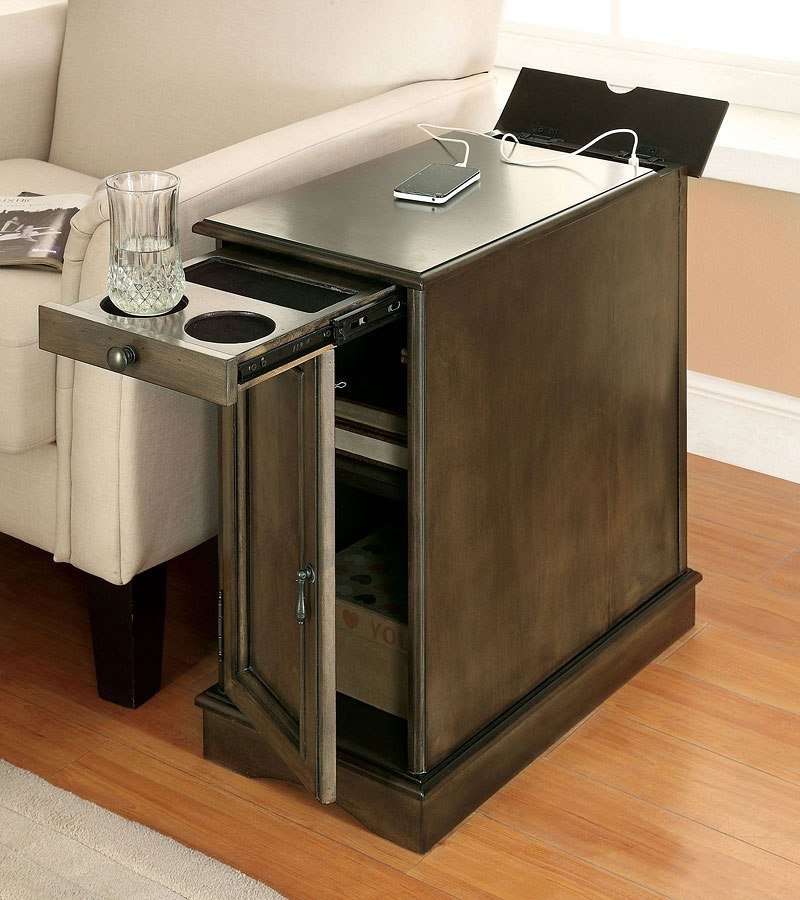 Lilith I Side Table W/ USB And Power Outlet (Gray)