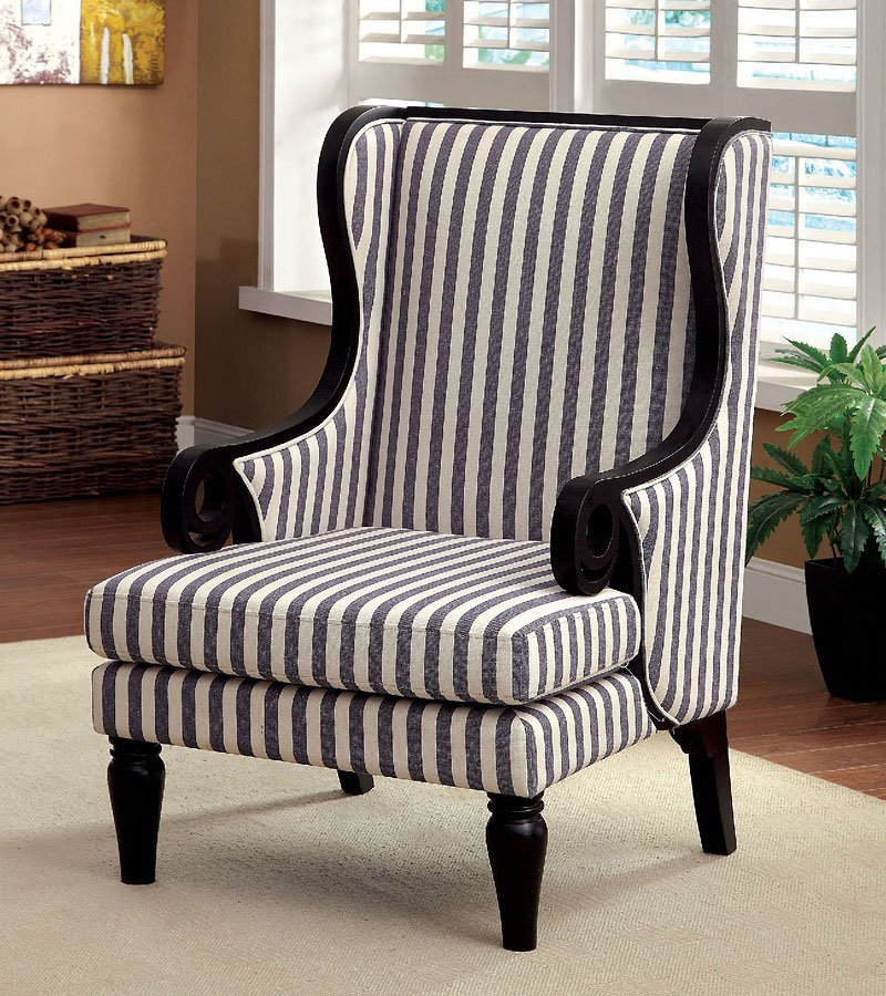 Riviera Striped Accent Chair By Furniture Of America Furniturepick
