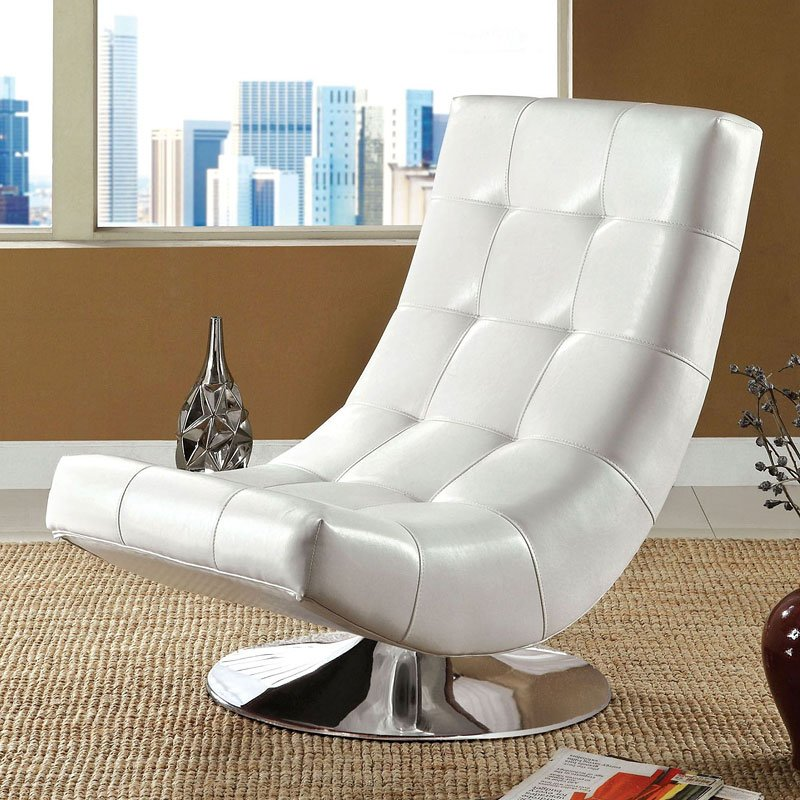 Trinidad swivel chair white by furniture of america furniturepick for Living room furniture trinidad