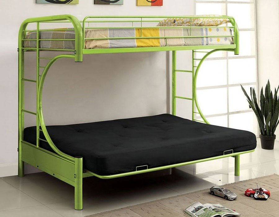 Rainbow Twin Over Futon Bunk Bed Green Kids And Youth Furniture