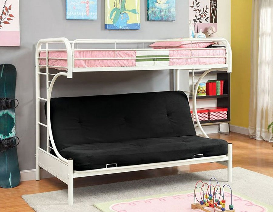 Rainbow Twin Over Futon Bunk Bed White
