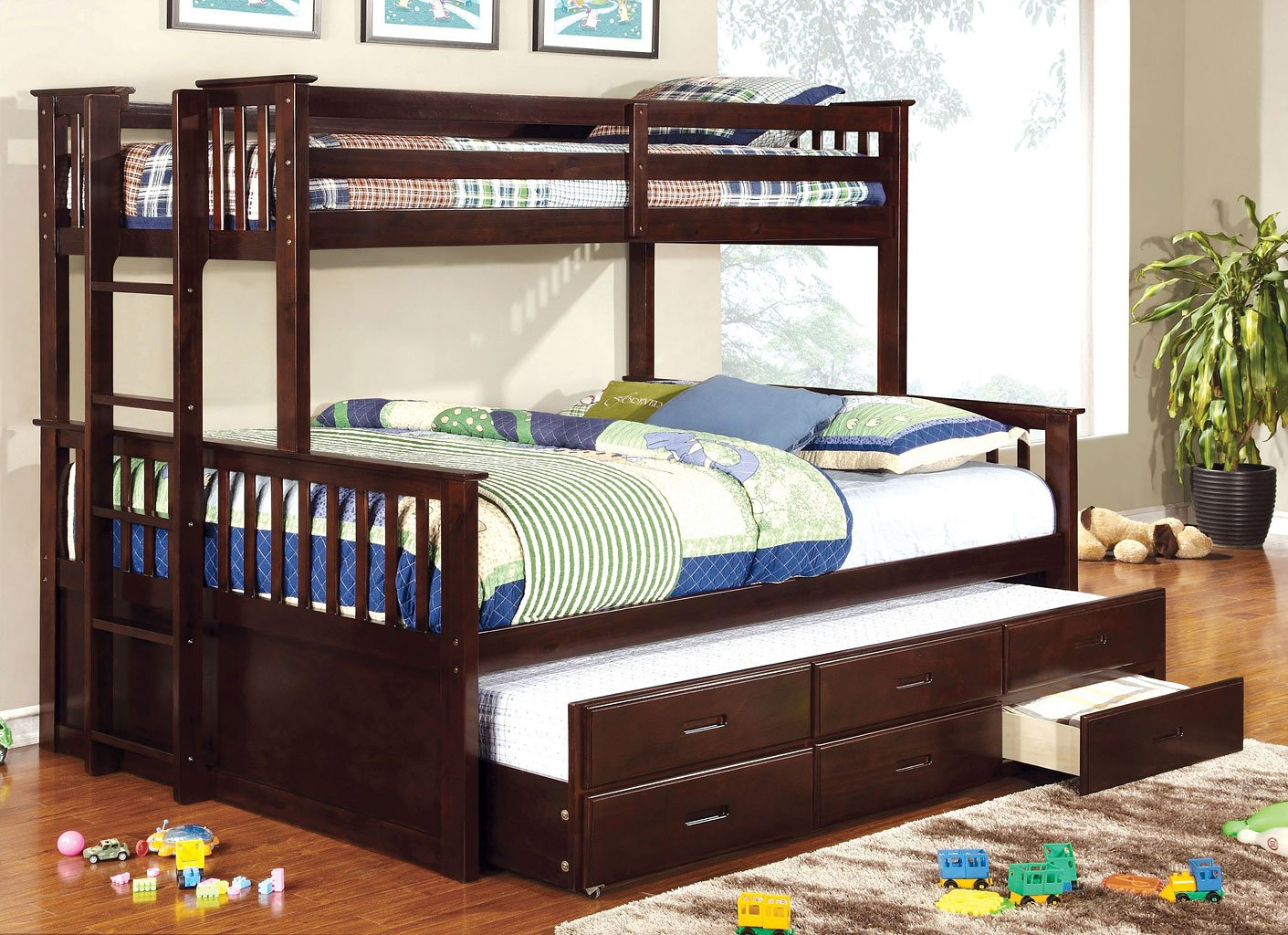 Omnus Youth Bedroom Set W University Bunk Bed Dark Walnut By