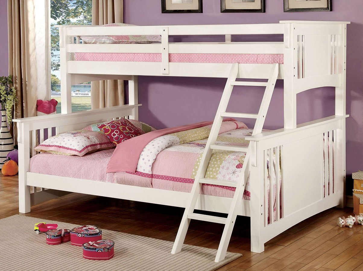 Spring Creek Twin Xl Over Queen Bunk Bed White Kids And Youth