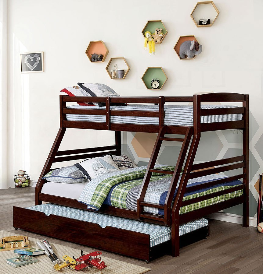Elaine Twin Over Full Bunk Bed W Trundle Dark Walnut