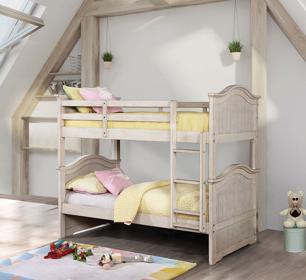 Hermine Twin Over Twin Bunk Bed Antique White By