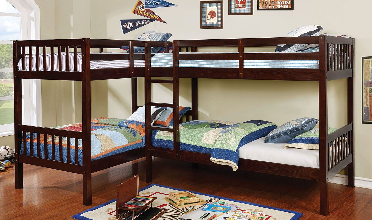 Marquette L Shaped Quadruple Twin Bunk Bed By Furniture Of America