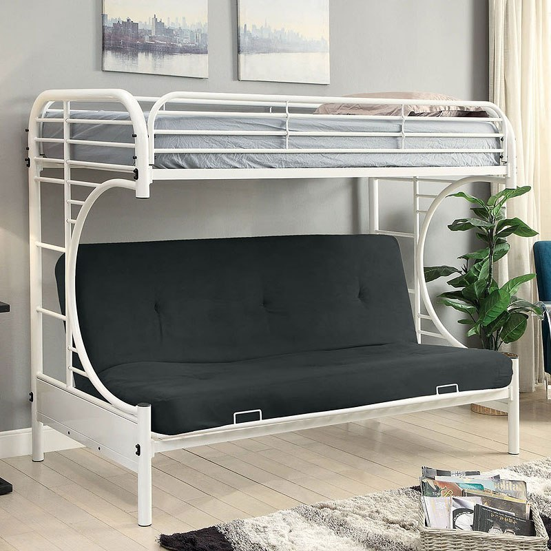 Alanna Metal Bunk Bed W Futon Base White Kids And Youth