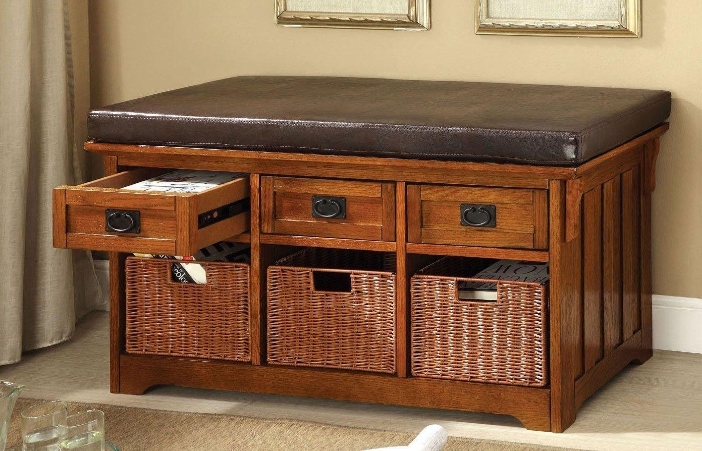 Hobart 42 Inch Storage Bench By Furniture Of America Furniturepick