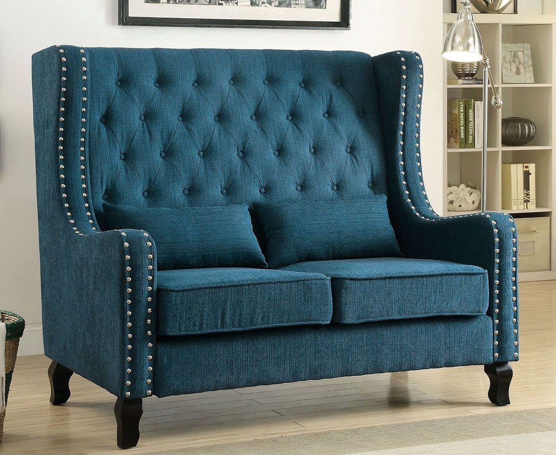 Alicante Loveseat Bench Dark Teal By Furniture Of
