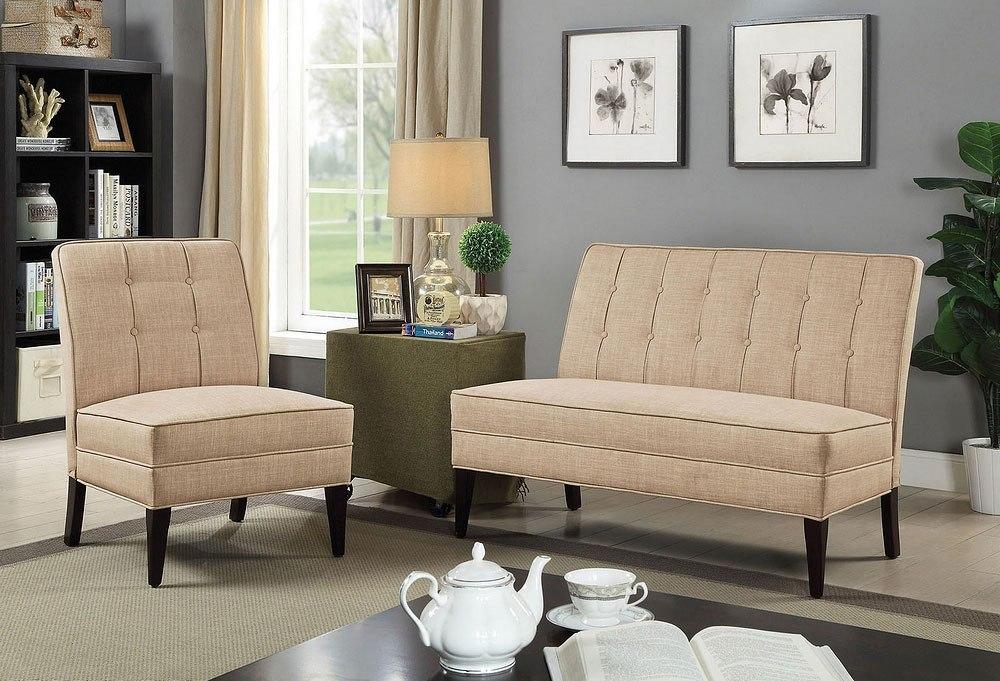Deandra Living Room Set (Beige) by Furniture of America | FurniturePick