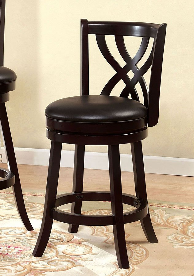 Wendel 25 Inch Swivel Bar Stool Espresso By Furniture Of America