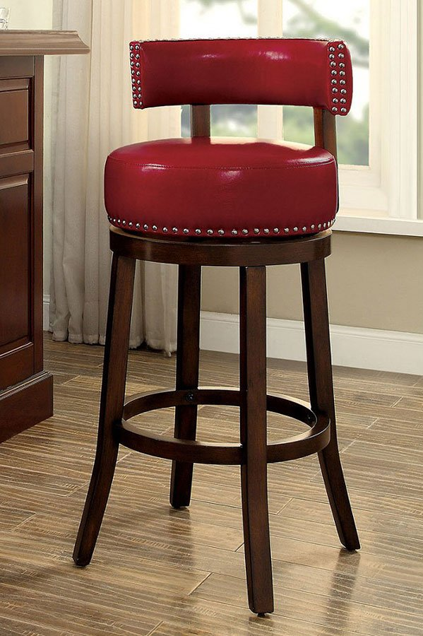 Shirley 30 Inch Swivel Bar Stool Red Set Of 2 By Furniture Of