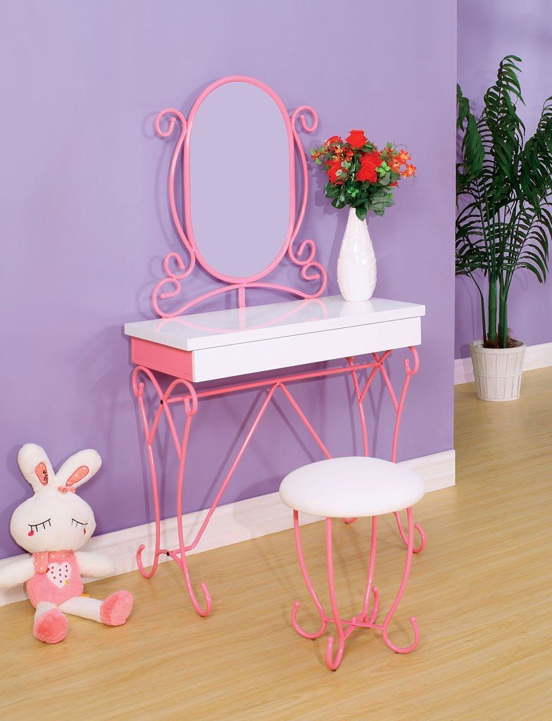Enchant Youth Vanity Table W Stool Pink And White By