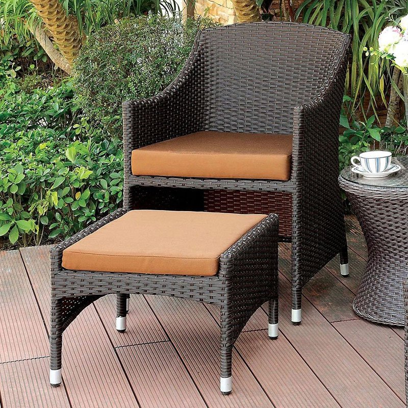 Almada Outdoor Arm Chair W Nesting Ottoman By Furniture