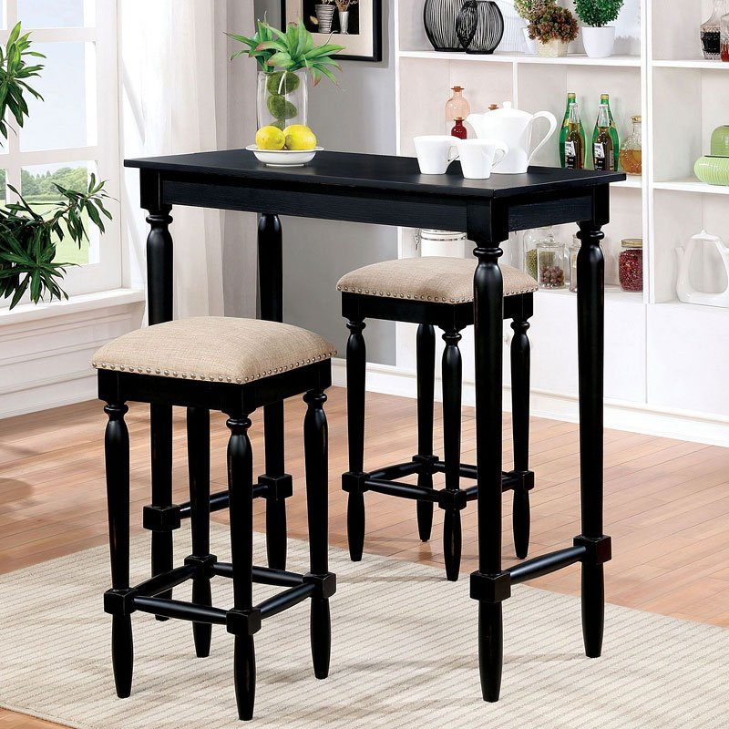 Oprah 3 Piece Bar Table Set Home Bar And Game Room Furniture