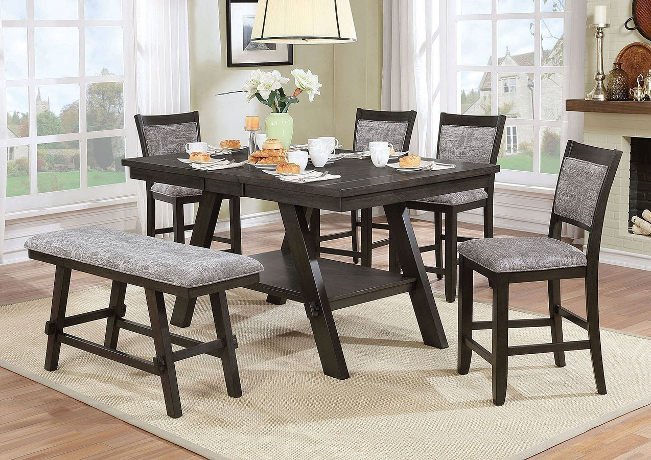 Tollerson counter height dining room set w bench by furniture of america furniturepick