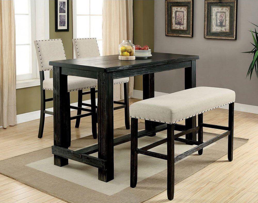 Sania II Bar Table Set w Bench Bistro and Bar Table Sets Home