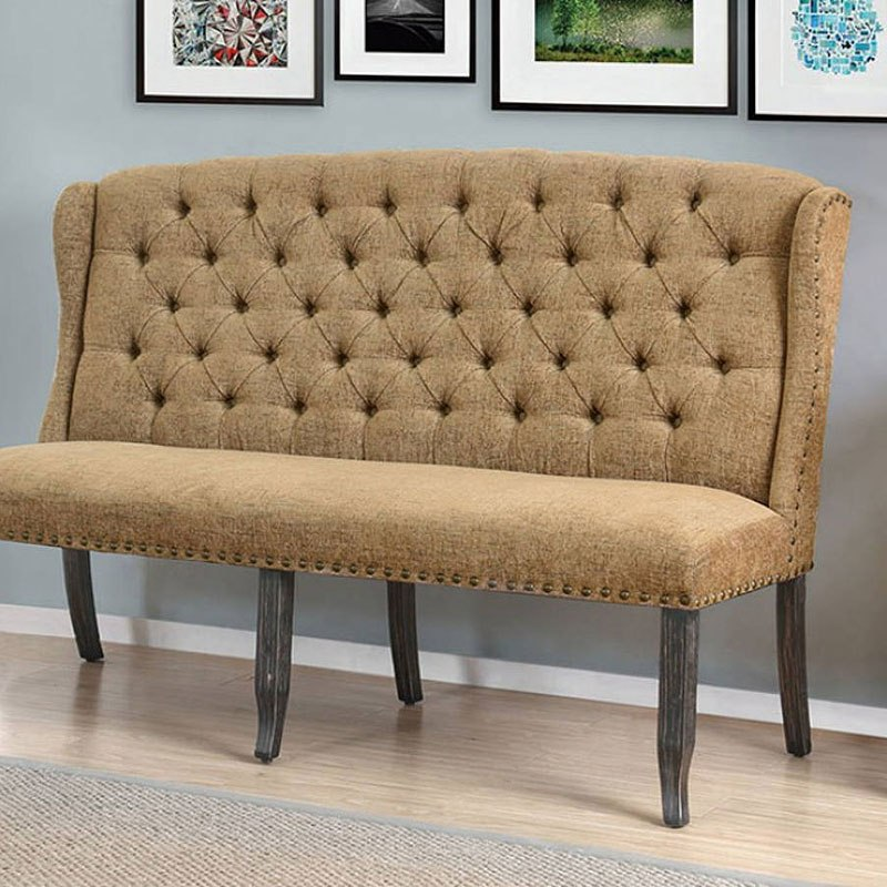 Superieur Sania III 3 Seater Loveseat Bench (Gold)