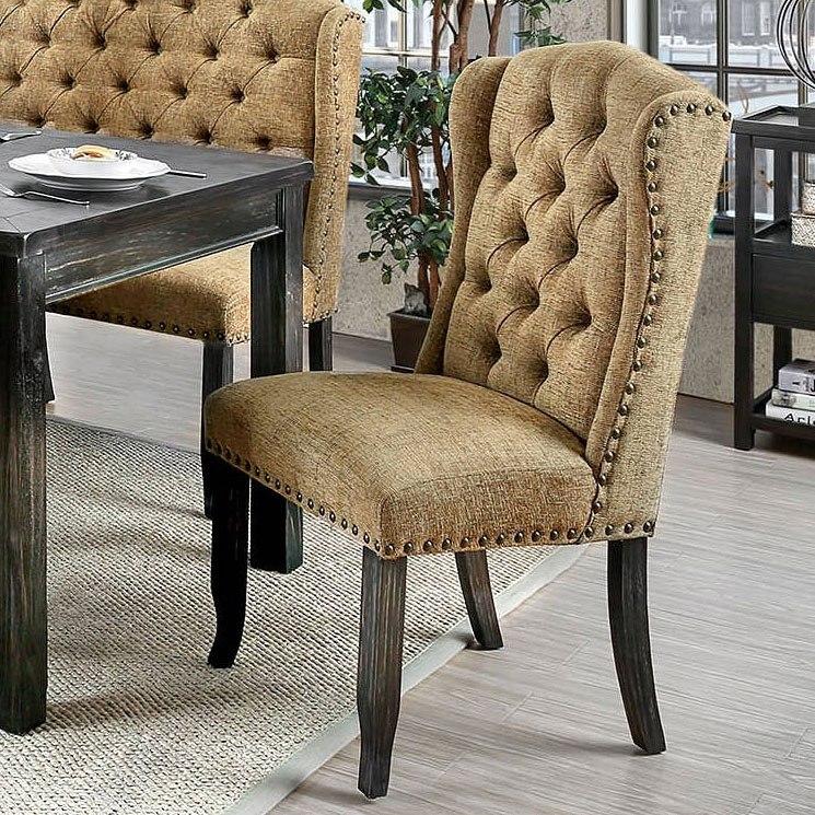 Sania Iii Wingback Chair Gold Set Of 2